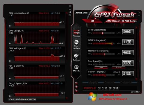 لقطة شاشة ASUS GPU Tweak لنظام التشغيل Windows 7