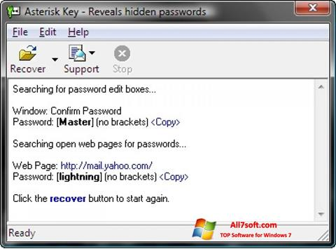 لقطة شاشة Asterisk Key لنظام التشغيل Windows 7