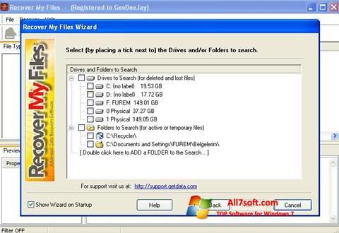 لقطة شاشة Recover My Files لنظام التشغيل Windows 7