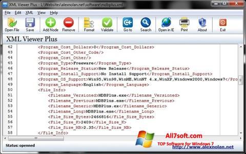 لقطة شاشة XML Viewer لنظام التشغيل Windows 7