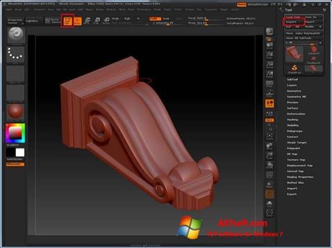 لقطة شاشة ZBrush لنظام التشغيل Windows 7