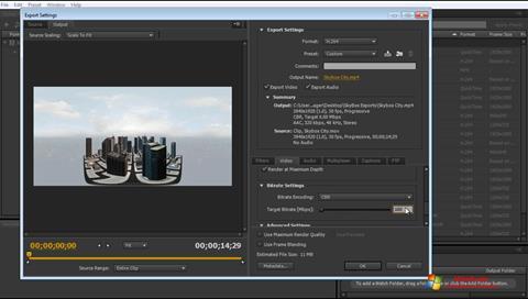 لقطة شاشة Adobe Media Encoder لنظام التشغيل Windows 7