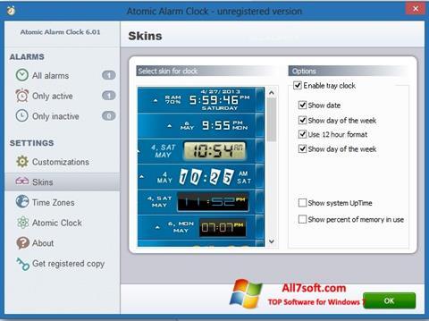 لقطة شاشة Atomic Alarm Clock لنظام التشغيل Windows 7