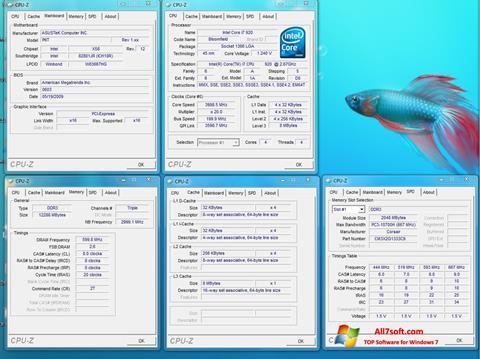 لقطة شاشة CPU-Z لنظام التشغيل Windows 7