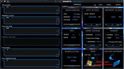 لقطة شاشة GIGABYTE OC Guru لنظام التشغيل Windows 7