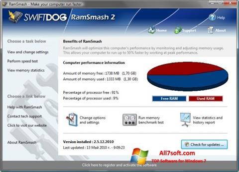 لقطة شاشة RamSmash لنظام التشغيل Windows 7