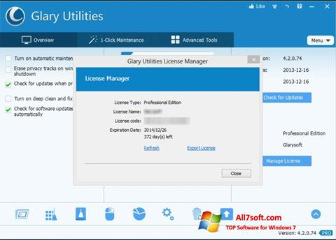 لقطة شاشة Glary Utilities لنظام التشغيل Windows 7