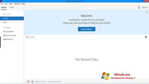 لقطة شاشة Adobe Acrobat Pro لنظام التشغيل Windows 7