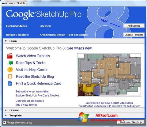 لقطة شاشة Google SketchUp Pro لنظام التشغيل Windows 7