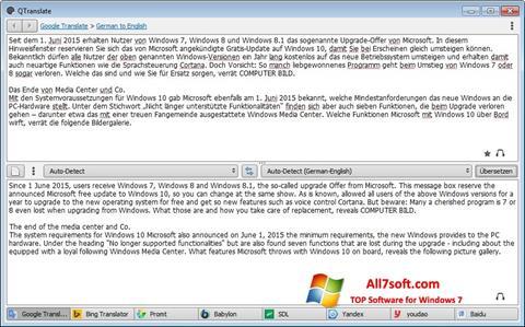 لقطة شاشة QTranslate لنظام التشغيل Windows 7