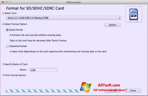 لقطة شاشة SDFormatter لنظام التشغيل Windows 7