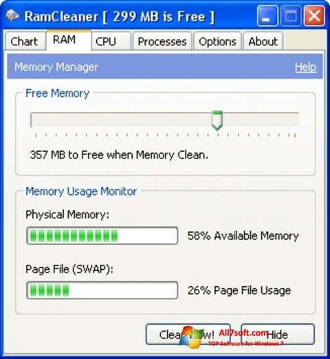لقطة شاشة RamCleaner لنظام التشغيل Windows 7