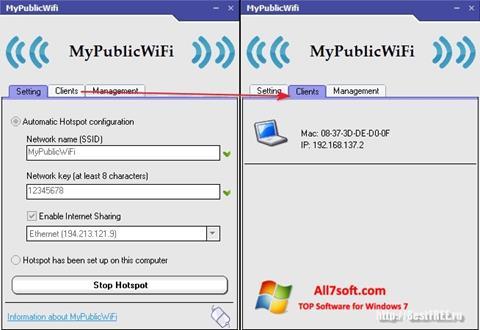لقطة شاشة MyPublicWiFi لنظام التشغيل Windows 7
