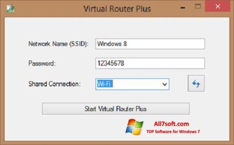 لقطة شاشة Virtual Router Plus لنظام التشغيل Windows 7
