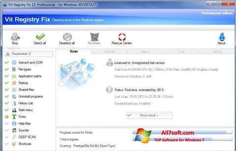 لقطة شاشة Vit Registry Fix لنظام التشغيل Windows 7