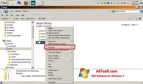 لقطة شاشة MagicISO لنظام التشغيل Windows 7