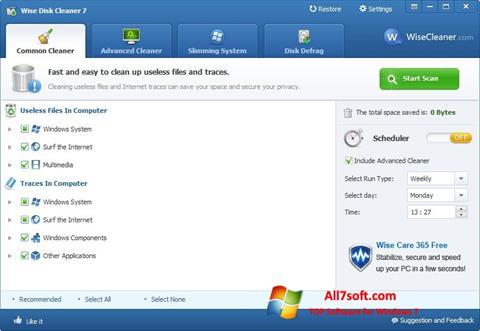 لقطة شاشة Wise Disk Cleaner لنظام التشغيل Windows 7