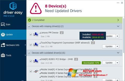 لقطة شاشة Driver Easy لنظام التشغيل Windows 7