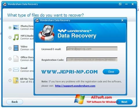 لقطة شاشة Wondershare Data Recovery لنظام التشغيل Windows 7