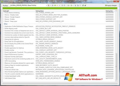 لقطة شاشة NVIDIA Inspector لنظام التشغيل Windows 7