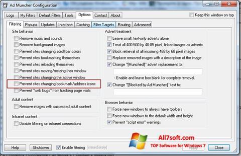لقطة شاشة Ad Muncher لنظام التشغيل Windows 7