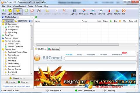 لقطة شاشة BitComet لنظام التشغيل Windows 7