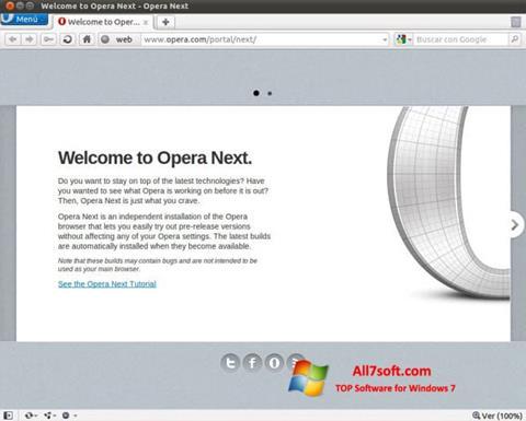 لقطة شاشة Opera Developer لنظام التشغيل Windows 7