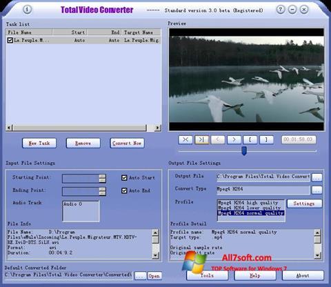 لقطة شاشة Total Video Converter لنظام التشغيل Windows 7