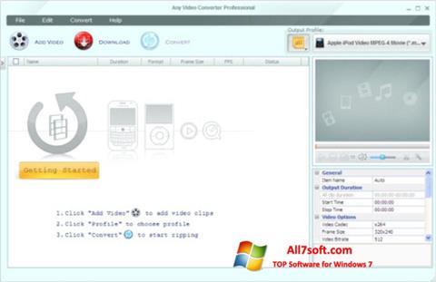 لقطة شاشة Any Video Converter لنظام التشغيل Windows 7