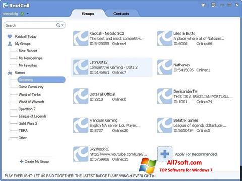لقطة شاشة RaidCall لنظام التشغيل Windows 7