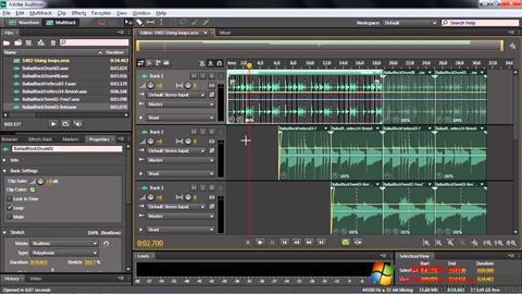 لقطة شاشة Adobe Audition CC لنظام التشغيل Windows 7