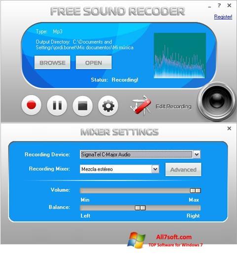 لقطة شاشة Free Sound Recorder لنظام التشغيل Windows 7