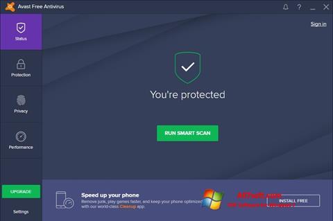 لقطة شاشة Avast Free Antivirus لنظام التشغيل Windows 7