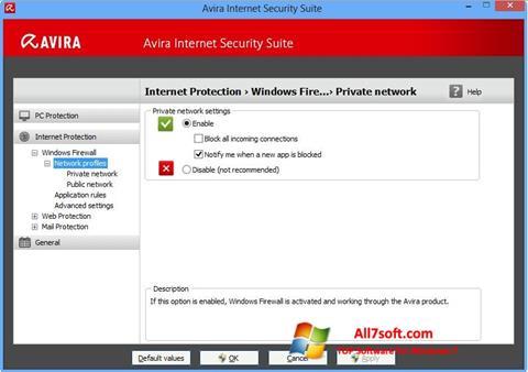 لقطة شاشة Avira Internet Security لنظام التشغيل Windows 7
