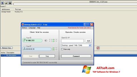 لقطة شاشة Ammyy Admin لنظام التشغيل Windows 7