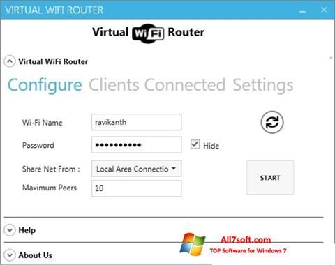 لقطة شاشة Virtual WiFi Router لنظام التشغيل Windows 7