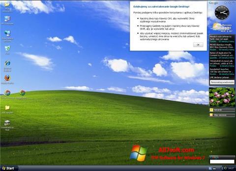 لقطة شاشة Google Desktop لنظام التشغيل Windows 7