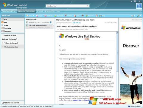 لقطة شاشة Windows Live Mail لنظام التشغيل Windows 7