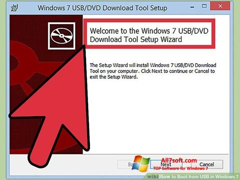 لقطة شاشة Windows 7 USB DVD Download Tool لنظام التشغيل Windows 7