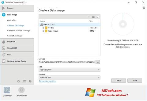 لقطة شاشة DAEMON Tools Lite لنظام التشغيل Windows 7