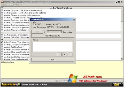 لقطة شاشة XP-AntiSpy لنظام التشغيل Windows 7