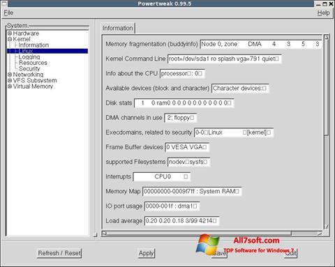 لقطة شاشة PowerTweak لنظام التشغيل Windows 7