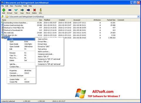 لقطة شاشة 7-Zip لنظام التشغيل Windows 7
