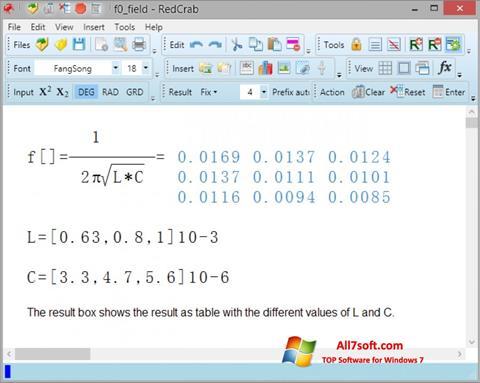 لقطة شاشة RedCrab Calculator لنظام التشغيل Windows 7