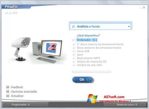 لقطة شاشة PrivaZer لنظام التشغيل Windows 7