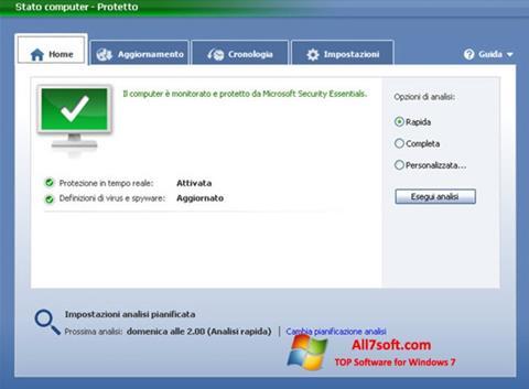 لقطة شاشة Microsoft Security Essentials لنظام التشغيل Windows 7