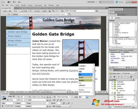 لقطة شاشة Adobe Dreamweaver لنظام التشغيل Windows 7