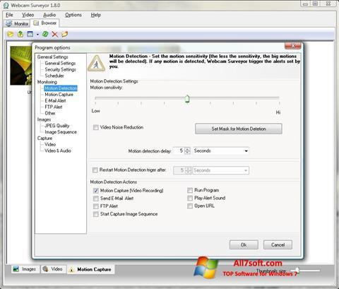لقطة شاشة Webcam Surveyor لنظام التشغيل Windows 7