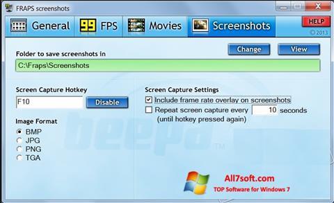 لقطة شاشة Fraps لنظام التشغيل Windows 7