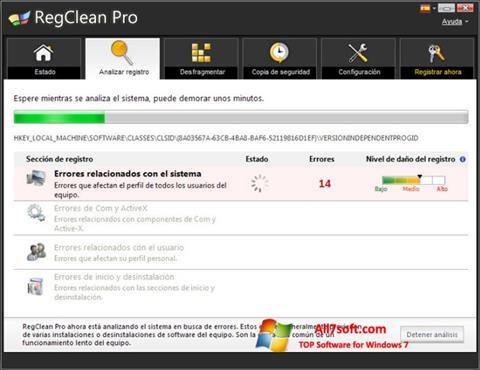 لقطة شاشة RegClean Pro لنظام التشغيل Windows 7